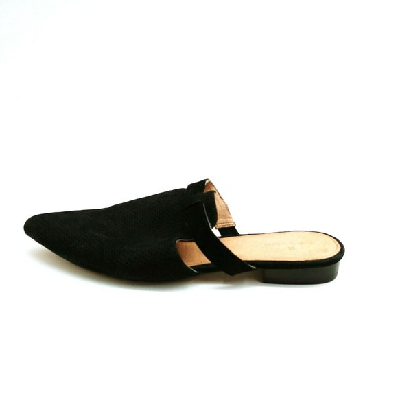 Caslon Womans Flat Slides Black Suede Cushioned